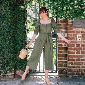 Gal Meets Glam Sylvie Forest Green Linen Jumpsuit
